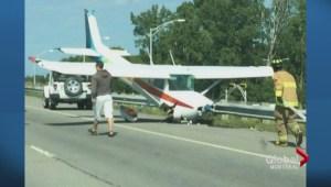 Light plane crash lands on Quebec highway