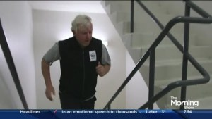 Former Toronto mayor David Miller takes the stair climb challenge
