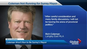Rich Coleman won't run for Surrey mayor