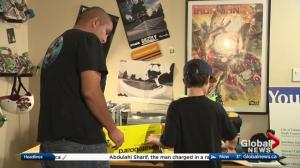 Father and son build skateboards for 630 CHED Santas Anonymous
