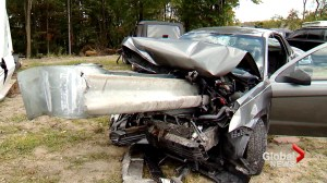 Driver asleep at the wheel unbelievably lucky to be alive after car impaled by guardrail