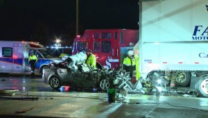 1 dead after crash involving car and transport truck in Brampton