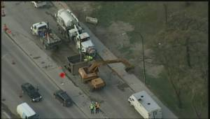 Aerial view of St. Mary's Road traffic near sinkhole