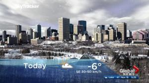 Edmonton early morning weather forecast: Wednesday, November 15, 2017