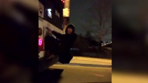 Video captures man hanging from back of moving TTC bus in dangerous stunt