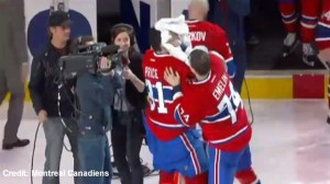 Carey Price gets shaving cream in the face after breaking record