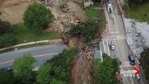 Drone footage shows aftermath of historic flooding in Maryland