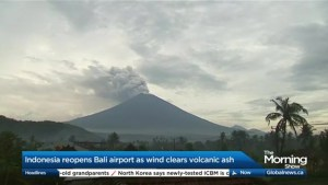 Canadians stranded in Bali as Mount Agung continues to erupt