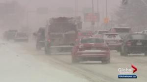 Fresh snowfall creates dangerous driving conditions in Edmonton area
