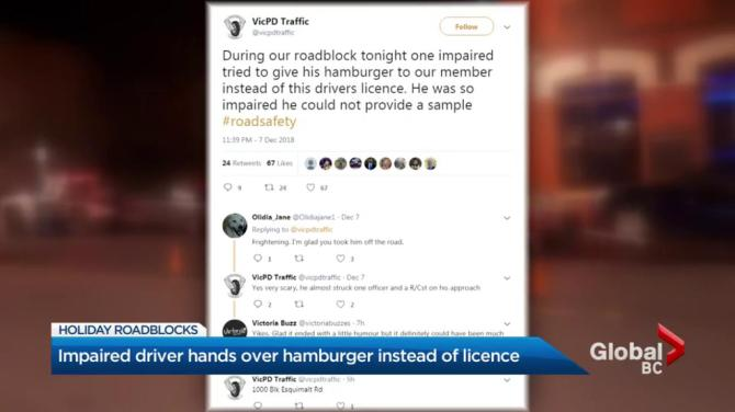 Alleged impaired driver offers police hamburger instead of driver's licence
