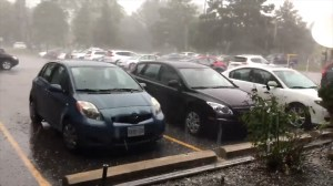 Hail hammers cars in North York as storm rolls through Toronto area