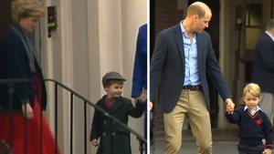 Prince William follows in Diana's footsteps by taking Prince George to first day of school