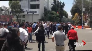 People flee to streets after earthquake strikes central Mexico