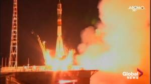 ISS crew launches to space on Apollo anniversary