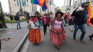 Supporters of Bolivia's former president march in streets