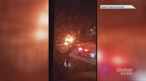 Video appears to show aftermath of collision involving stolen Durham police cruiser (01:01)