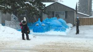 Huge blue snow dragon providing photo-ops for kids and families (00:49)