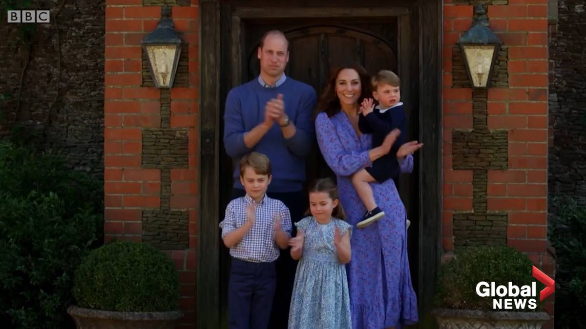 Click to play video: 'Prince William, Kate Middleton and their kids clap for health-care workers'