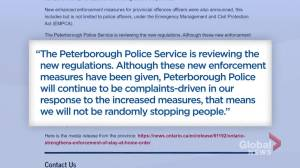 Peterborough Police relinquish new stay-at-home enforcement measures (02:10)