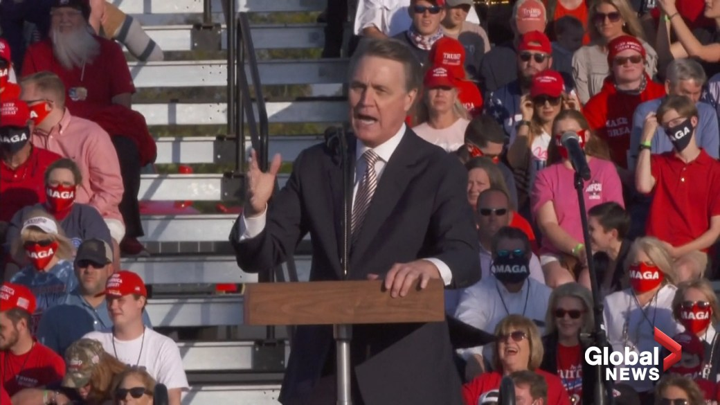 Click to play video 'Republican senator mangles Kamala Harris' name on stage at Trump rally'