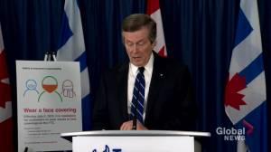 Coronavirus outbreak: Toronto Mayor Tory announces mandatory usage of face masks on TTC (01:45)