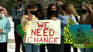 Calgary students walk out of class to protest harassment (01:46)