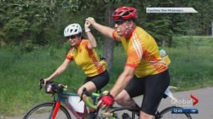 Biking challenge kicks off in Banff to raise money for kids' cancer care (00:54)