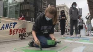 Teen activists target TD Bank over Enbridge Line 3 pipeline investment (01:04)