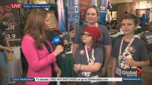 Family with experience at Stollery Children's Hospital speaks to Global News at Corus Radiothon