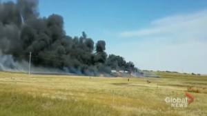 Witness video shows smoke coming from Cereal, Alta. crash site