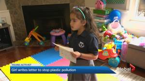 Young Mississauga girl writes letter to stop plastic pollution