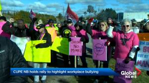 CUPE rallies outside Saint John Laundry to raise awareness around workplace bullying