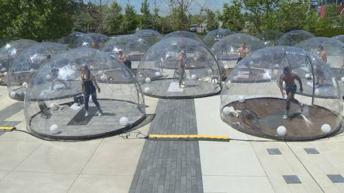 Coronavirus Yoga Domes Offer Safe Outdoor Workouts Watch News Videos Online