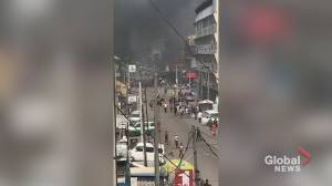 Magistrate court set on fire during protests in Lagos (01:04)