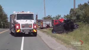 Four sent to hospital after single-vehicle crash in Hamilton Township (00:31)