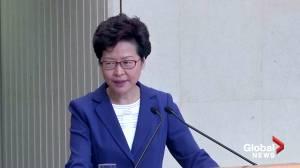Hong Kong leader Carrie Lam defends ban on face masks