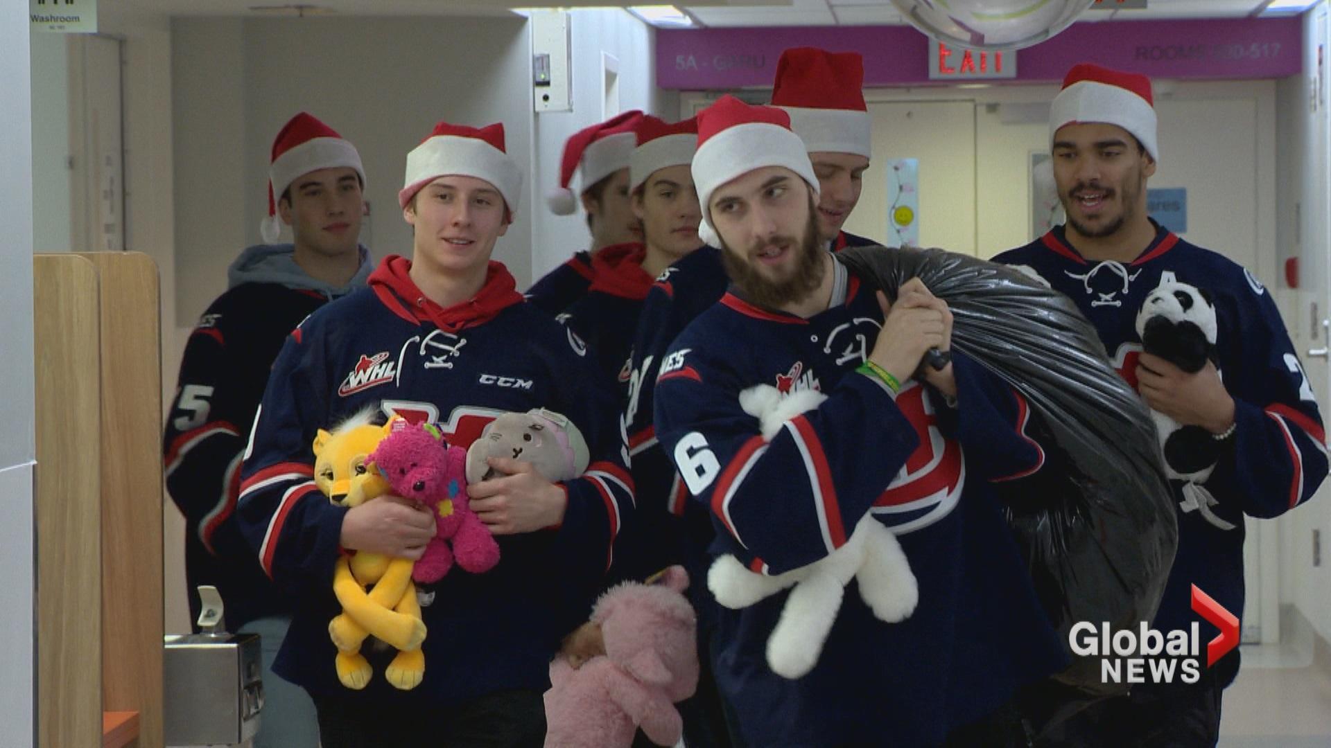 Lethbridge Hurricanes bring Teddy Bear Toss teddies to sick kids at Chinook Regional Hospital