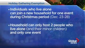 Alberta changes Christmas gathering rule to help those that live alone, makes exemptions for massage and counselling (03:43)