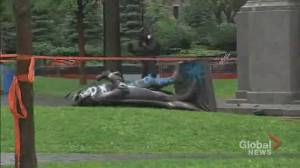 Montreal police open investigation into the toppling of John A. Macdonald statue (02:36)