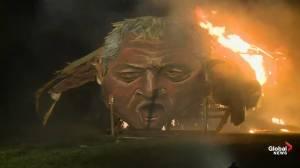 John Bercow effigy lit on fire ahead of Bonfire Night in U.K.