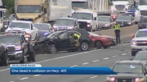 Crash on Highway 401 in Pickering kills 73-year-old man (01:37)