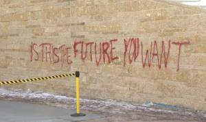 Canadian Museum for Human Rights responds to graffiti at entrance