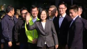 Taiwan president votes in election centered on China ties