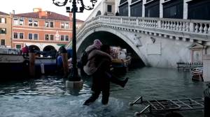 Venice swamped by high tide on Christmas Eve