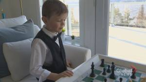 7-year-old chess prodigy relating to popularity of The Queen's Gambit (02:05)