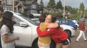 Julia Grosso arrives home after gold-medal win (02:14)