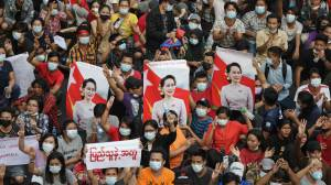 Myanmar coup: Thousands march in Yangon against military coup as junta shuts down internet (03:39)
