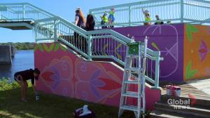 Indigenous artist putting finishing touches on mural in Fredericton