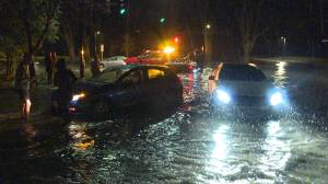 Several drivers and their cars – stuck on flooded streets in Kingston (02:46)