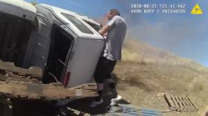 Dramatic video shows moment California man is saved from fiery car crash